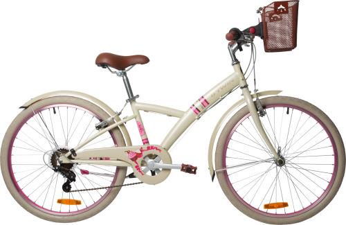 "Btwin Poply 500 Kids' 24"" Bike - Cream/Pink 2017 City bikes bike"