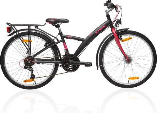 "Btwin Poply 540 24"" Bike - Black/Pink 2017 City bikes bike"