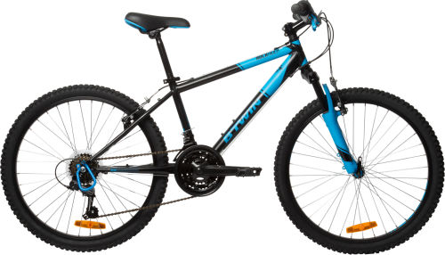 "Btwin Rockrider 500 Kids' 24"" Mountain Bike - Black/Blue 2017 City bikes bike"