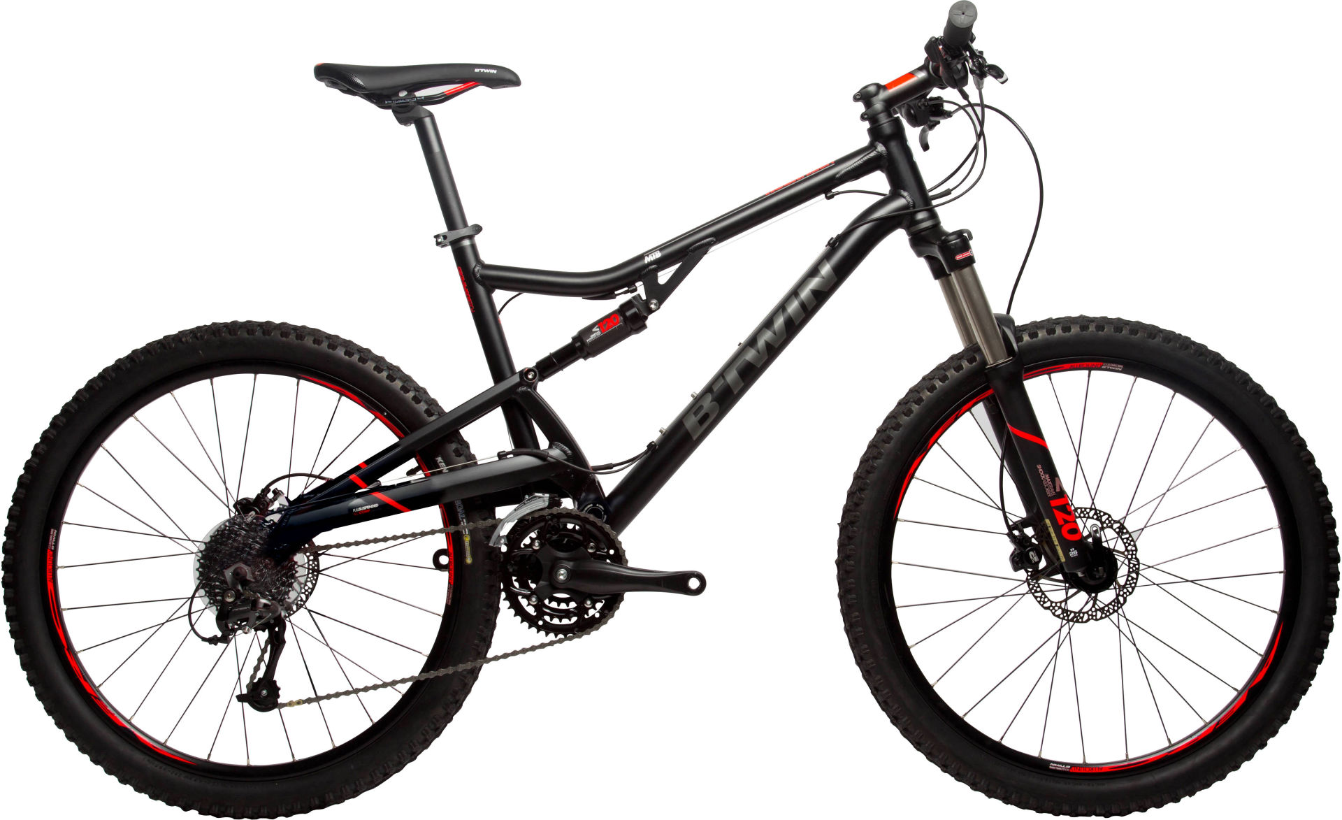 daf11f5ef Btwin Rockrider 520 Suspension Mountain Bike - Black Orange 2017 - Cross  country (XC) bike