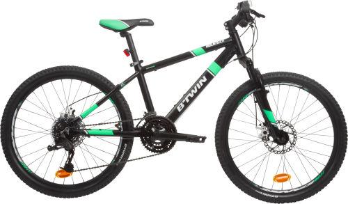 "Btwin Rockrider 700 Kids' 24"" Mountain Bike - Black / Green 2017 City bikes bike"